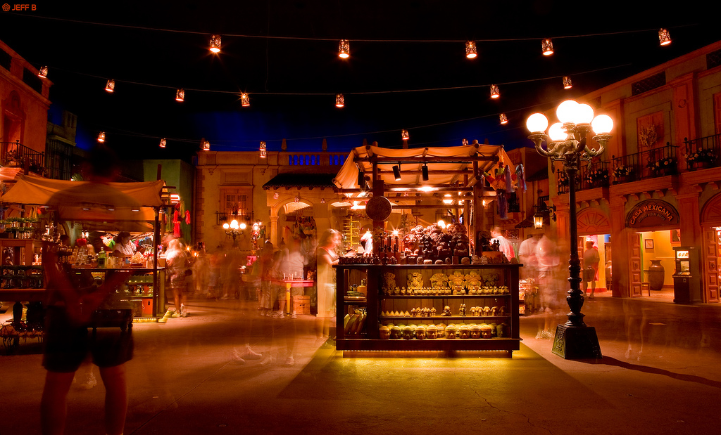 Board the Gran Fiesta Tour through the Plaza de los Amigos!