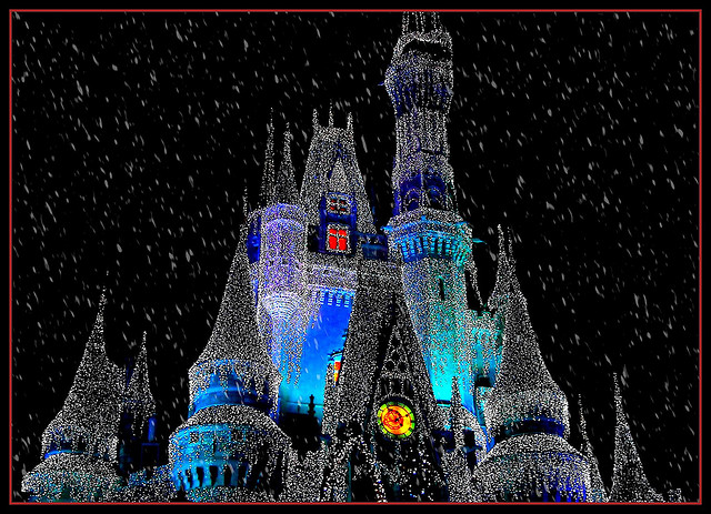 Snow on Cinderella Castle all decked out for Christmas at Disney World