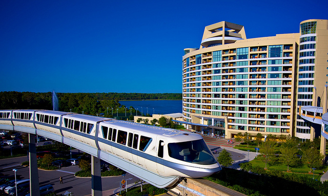 The Disney World Monorail passing in front of Bay Lake Towers