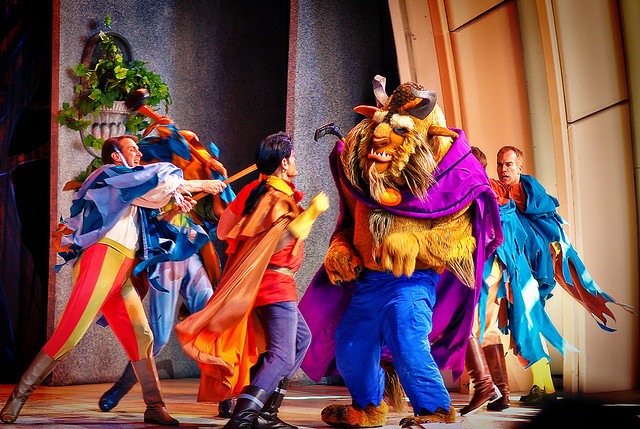 Gaston and the Beast fighting from the Beauty and the Beast show in Disney Hollywood Studios
