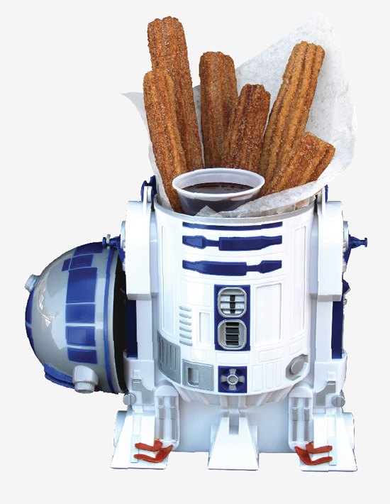 A mini R2D2 filled with a churro