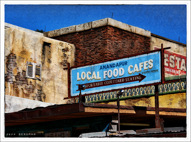Sign for local food cafes in Animal Kingdom