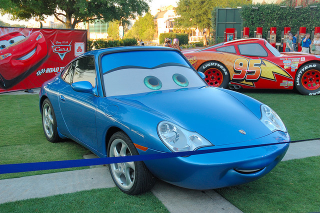 Sally from Cars at Downtown Disney