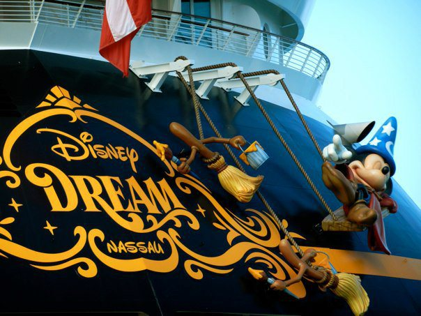 Sorcerer Mickey and the Fantasia Broom painting the Disney Dream