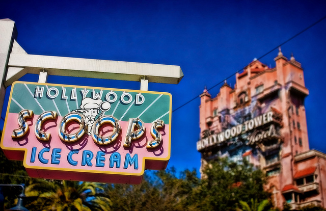The Hollywood Tower Hotel and Hollywood Scoops Ice Cream sign