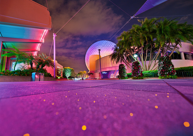Future World pavement sparkling with Spaceship Earth in the background