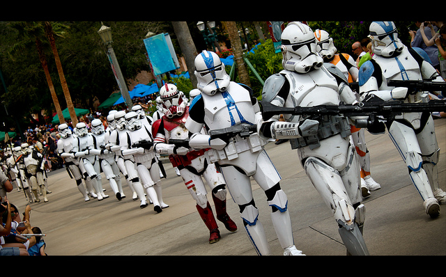 Star Wars Storm Troopers marching through Disney Hollywood Studos