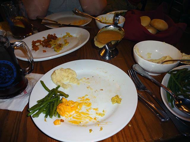 Empty plates at Liberty Tree Tavern