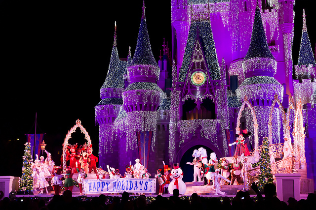 happy holidays from mickey and his friends on the stage at cinderella castle - Mickeys Christmas Party