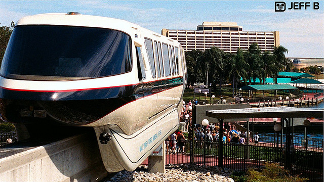 The monorail at the Magic Kingdom with the Contemporary Resort in the background