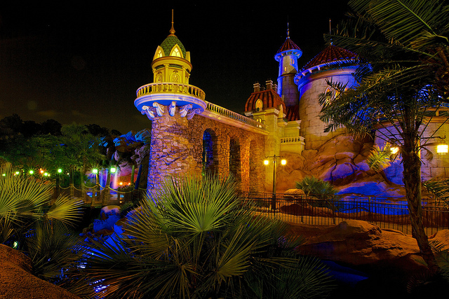 Prince Eric's Castle at night