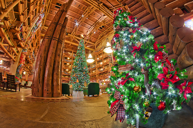 Christmas trees inside the Wilderness Lodge