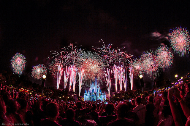 Disney World Crowds on July 4 watching the fireworks