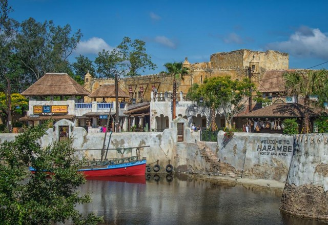 Harambe Village across the water.  Photo by Judd Helms.