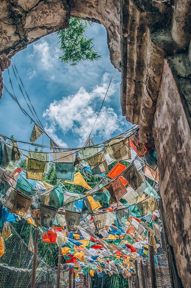 Prayer flags at The Maharajah Jungle Trek.  Photo by Judd Helms.