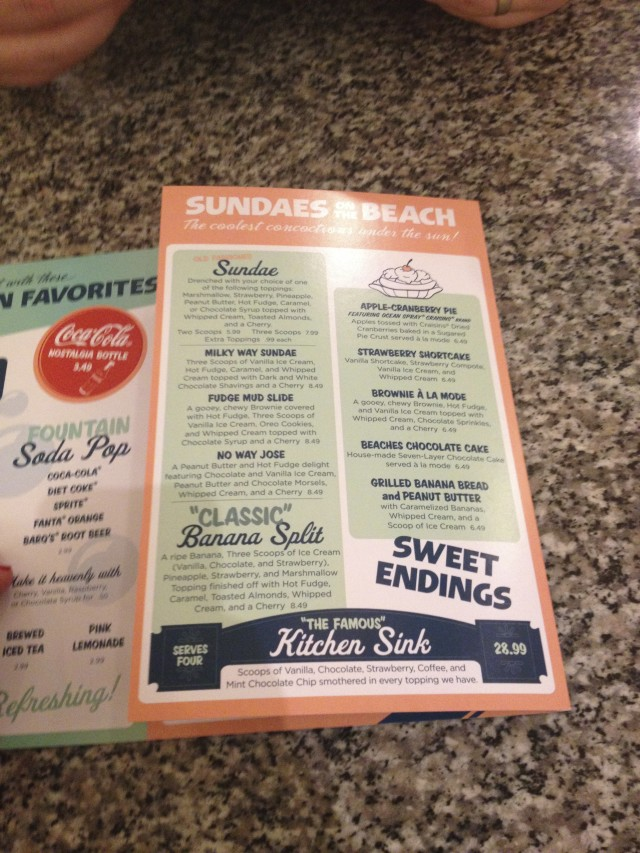 The dessert menu at Beaches and Cream goes on and on!  Photo by Stephanie Shuster.