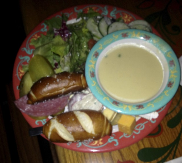 A bowl of Biergarten's potato leek soup (and some other goodies). Photo by Stephanie Shuster.