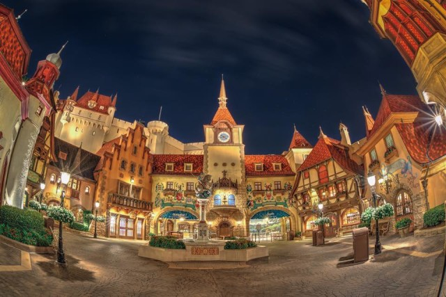 Epcot's Germany Pavilion at night. Photo by Judd Helms.