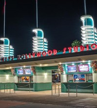 The entrance to Disney's Hollywood Studios at night