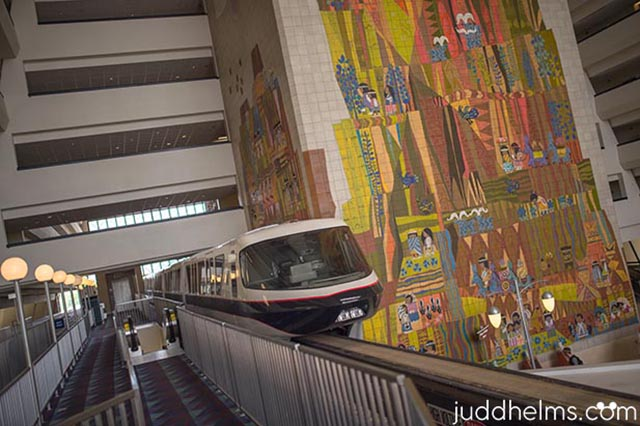 The Monorail going through the Contemporary Resort